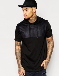 ASOS - Longline T-Shirt With Faux Suede Yoke And Hood In Black