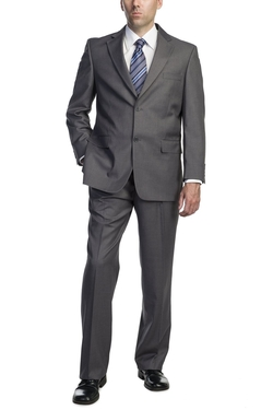 PL - Single Breasted Two Button Gray Dress Suit