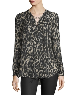 Haute Hippie - Long-Sleeve Silk Leopard Blouse