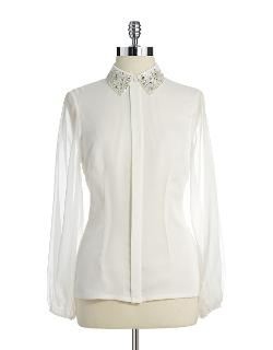Adrianna Papell  - Jewel And Sequin Collared Blouse