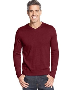 John Ashford -  Solid Long-Sleeve V-Neck Sweater