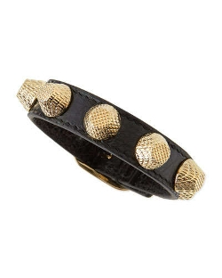 Balenciaga - Leather Golden Stud Bracelet