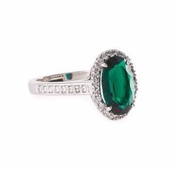 Fantasia by DeSerio - Emerald Cubic Zirconia Oval Ring