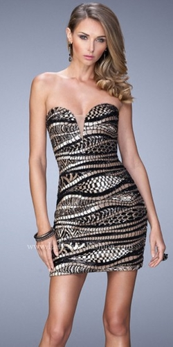 La Femme - Chic Pattern Metallic Cocktail Dress