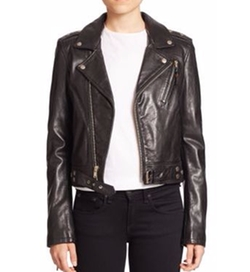 BLK DNM - Cropped Leather Biker Jacket