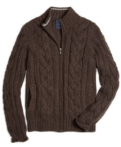 Brooks Brothers - Cashmere Zip-Front Cable Cardigan Sweater