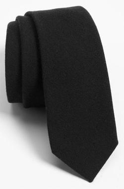 The Tie Bar - Solid Wool Blend Skinny Tie