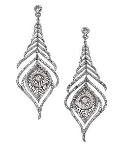 Mystic Light  - Silver and Pave Diamond Peacock Feather Earrings