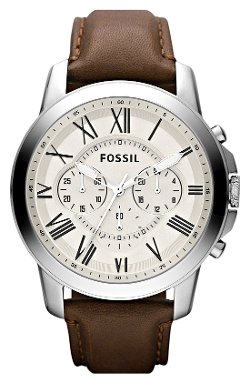 Fossil - Chronograph Leather Strap Watch