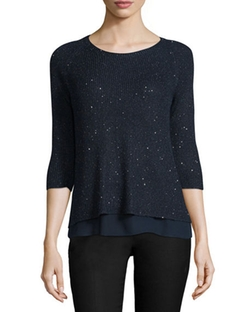 Neiman Marcus Cashmere Collection - Silk-Cashmere Blend Sweater