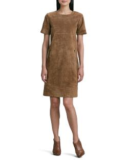 Neiman Marcus  - Suede Zip-Pocket Shift Dress