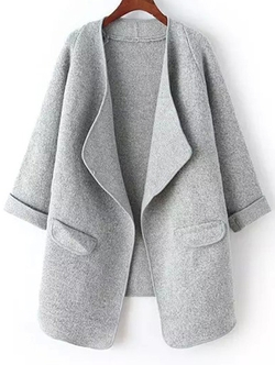 Romwe - Drape Front Pockets Grey Coat