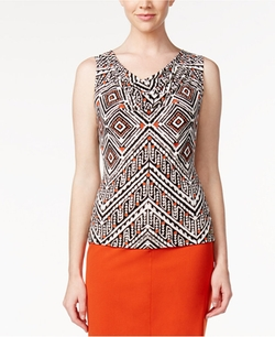 Calvin Klein - Printed Cowl-Neck Top