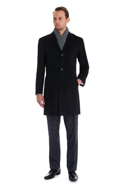 Moss 1851 - Tailored Fit Black Epsom Overcoat