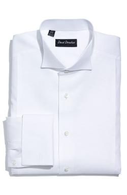 David Donahue  - Piqué Bib Front Regular Fit Tuxedo Shirt