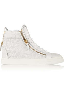 Giuseppe Zanotti - London Croc-Effect Leather High-Top Sneakers