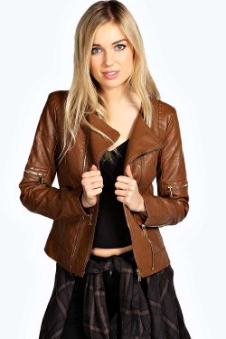 Boohoo - Collarless Quilted Biker Jacket