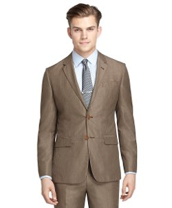 Brooks Brothers - Milano Fit Tan Houndstooth Suit