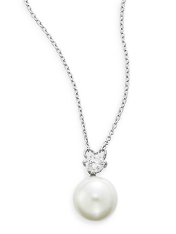 AK Anne Klein - Faux Pearl & Sterling Silver Pendant Necklace