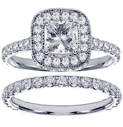 VIP Jewelry Art - 2.42 CT TW Pave Set Diamond Encrusted Princess Cut Engagement Bridal Set in 14k White Gold