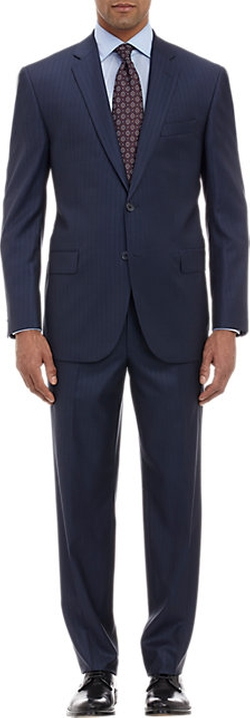 Barneys New York - Striped Jacquard Notch Lapel Suit