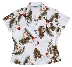 Two Palms  - Hawaiian Orchid Fitted Blouse