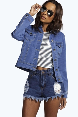 Boohoo Blue  - Jade Slim Fit Denim Jacket