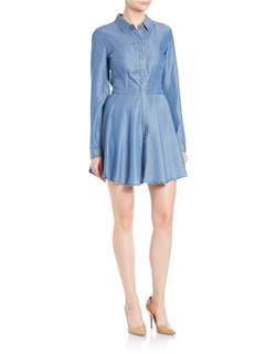 Guess - Fit-And-Flare Chambray Shirtdress