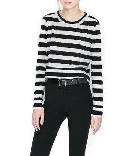 Chicnova - Long Sleeves Stripe T-Shirt