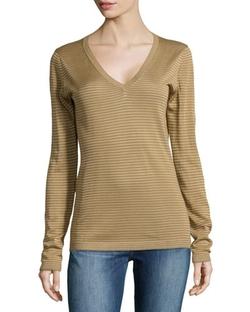 Minnie Rose  - Striped V-Neck Sweater