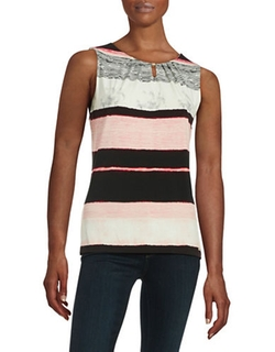 Ivanka Trump  - Pleat Neck Striped Shell Top