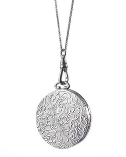 Monica Rich Kosann	  - Round Vine-Carved Locket Necklace