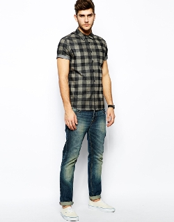Asos - Buffalo Plaid Denim Shirt