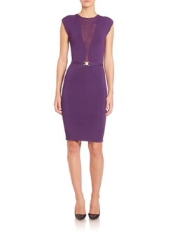 Versace Collection  - Cap Sleeve Sheer-Insert Knit Dress