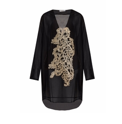 Lila Eugenie - V-Neck Embroidered Voile Kaftan Dress
