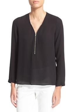 The Kooples - Zip Long Sleeve Silk Top
