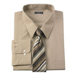 Croft & Barrow - Classic-Fit Point-Collar Dress Shirt & Striped Tie Boxed Set