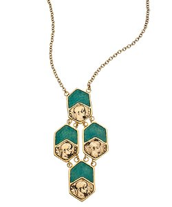 Tat2 Designs  - Vintage Gold And Green Enamel Necklace