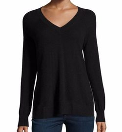 Autumn Cashmere - Cashmere Contrast-Piped V-Neck Sweater