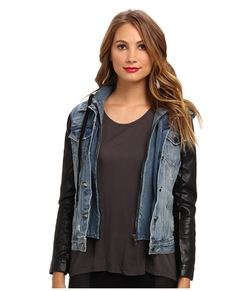 Blank NYC - Vegan Leather Sleeves Denim Jacket
