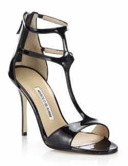 Manolo Blahnik  - Patent Leather T-Strap Sandals