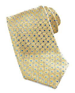 Charvet  - Geometric Dot Silk Tie, Yellow/Blue