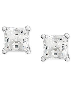 Diamond Earrings - 14k White Gold Near Colorless Princess Cut Diamond Studs