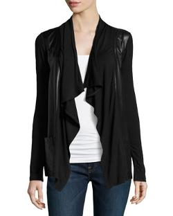 Neiman Marcus  - Faux-Leather/Knit Open Cardigan