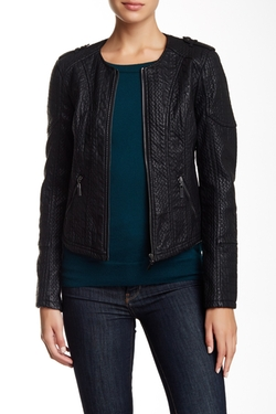 BNCI by Blanc Noir - Collarless Sweater Bonded Faux Leather Jacket