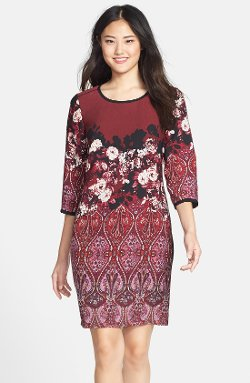 Adrianna Papell  - Floral & Paisley Print Sheath Dress