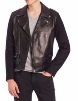Kent and Curwen  - Woven Sleeves Leather Biker Jacket