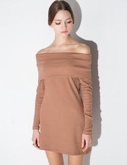 Pixie Market - Brown Off The Shoulder Knit Dress