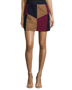 LaMarque	  - Multi Colors Kewa Patchwork Suede Skirt