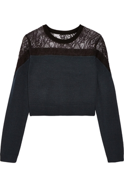 Tibi  - Lace-paneled Merino Wool Sweater